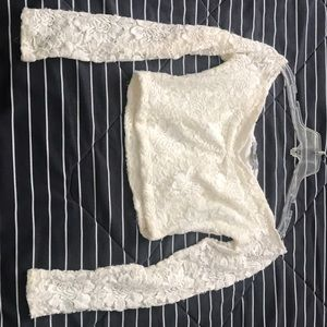 White lace crop top!